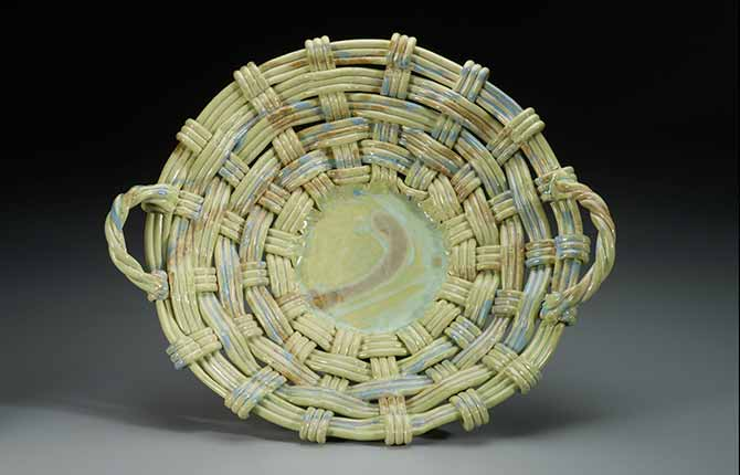 Light Green Round Woven Tray